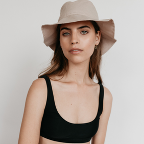 Sophie Linen Bucket Hat - Bone