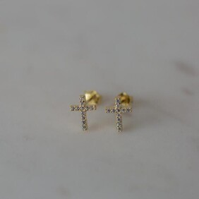 SOPHIE sparkle cross studs - gold