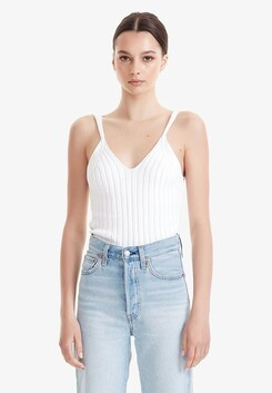 Commoners Rib Knit Cami - White