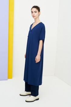 Kowtow Pleat Dress - Dark Blue