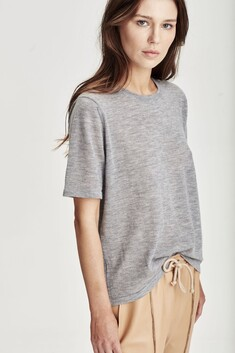 Laing Featherweight 100% Cashmere Tee - Grey Marle
