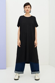 Kowtow Side Pleat Dress - Black