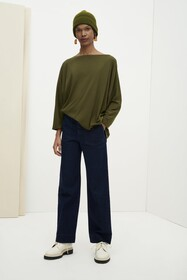 Kowtow Relaxed Boat Neck Top - Dark Green
