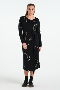 Nyne Visual L/S Dress - Black Object
