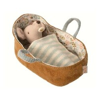 Maileg Baby Mouse in Carrycot