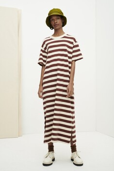 Kowtow Long T-Shirt Dress - Mahogany Stripe